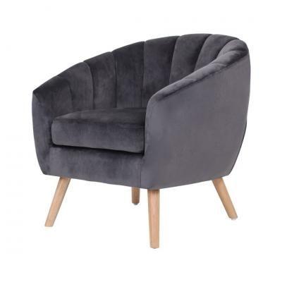 Bársony fotel, sötétszürke - SAINT TROPEZ